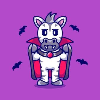 Śliczna zebra ubrana w kostium wampira na halloween