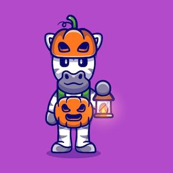 Śliczna zebra w kostiumie z dyni na halloween