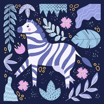 Śliczna zebra w stylu cartoon.