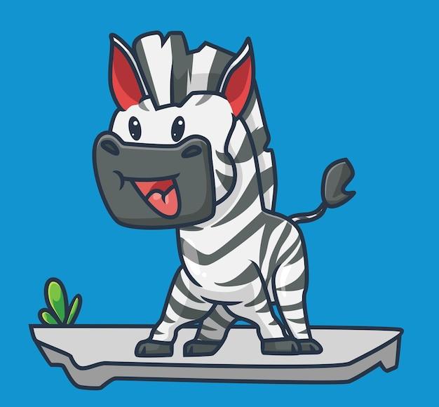 Śliczna zebra wesoła wesoła. koncepcja kreskówka natura zwierząt ilustracja na białym tle. płaski styl nadaje się do naklejki ikona design premium logo wektor. postać maskotki