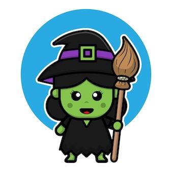 Śliczna zielona czarownica ikona ilustracja kreskówka