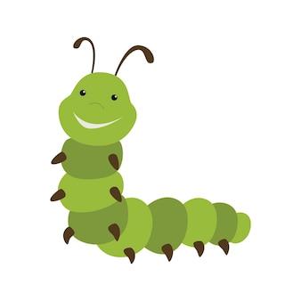 Śliczna zielona gąsienica kreskówka