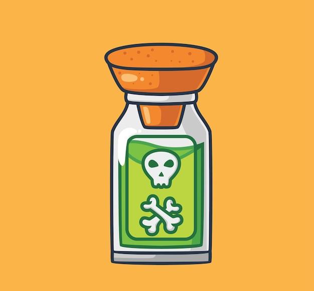 Śliczna zielona trucizna czaszka w butelce kreskówka koncepcja imprezy halloween ilustracja na białym tle płaskie