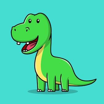 Śliczna zielona uśmiechnięta kreskówka dinozaura na miętowym tle