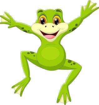 Śliczna zielona żaba skacząca kreskówka