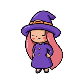 Śliczna zmęczona mała czarownica kreskówka