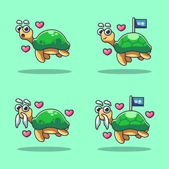 Śliczna żółw kreskówka w morzu świętuje światowego oceanu dzień