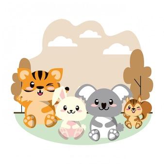 Śliczna zwierzę grupa w krajobrazowej scenie