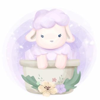 Śliczna zwierzęca mała owca ilustracja