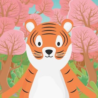 Śliczna zwierzęca tygrysia kreskówka w lesie