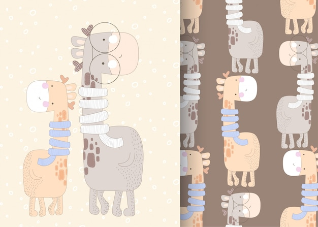 Śliczna żyrafa bezszwowa deseniowa ilustracja dla dzieciaków