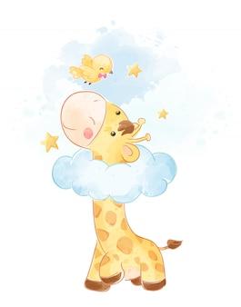 Śliczna żyrafa i małego ptaka ilustracja