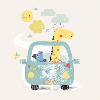 Śliczna żyrafa i papuga w samochodziemoże być używany do dziecięcej koszulki z nadrukiem modowym dla dzieci