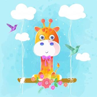 Śliczna żyrafa na huśtawce