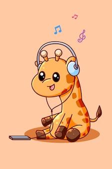 Śliczna żyrafa słuchająca muzyki z ilustracją kreskówki zestawu słuchawkowego