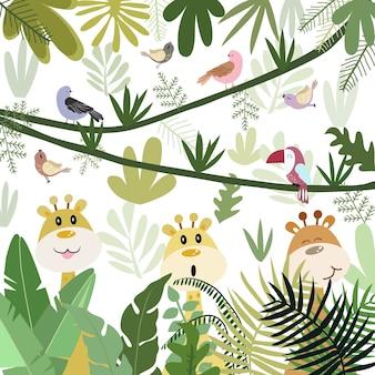 Śliczna żyrafa szczęśliwa w lasowej kreskówce