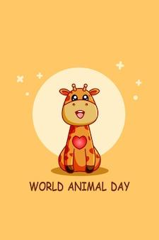 Śliczna żyrafa w ilustracja kreskówka światowego dnia zwierząt