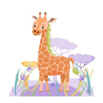 Śliczna żyrafa w sawannie z kwiatem i trawą na białym tle. ilustracja wektorowa
