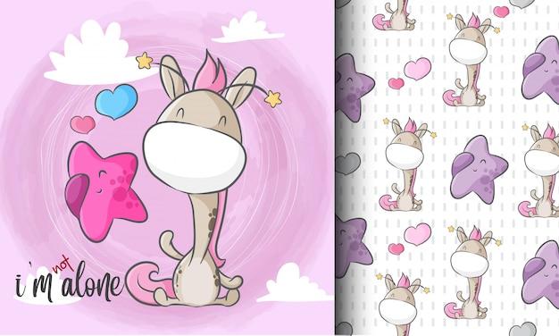 Śliczna żyrafa z małą gwiazdową bezszwową deseniową ilustracją dziecinną