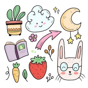Śliczne abstrakcyjne kolorowe dzieci doodle z królikiem i księżycem