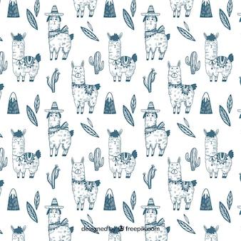 Śliczne alpaki wzór w stylu wyciągnąć rękę