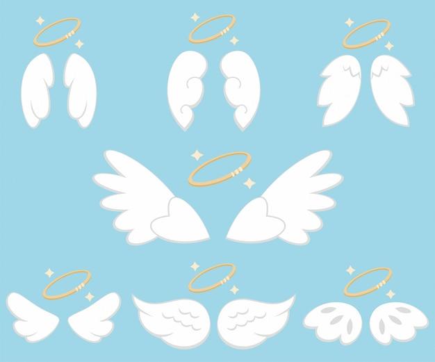 Śliczne anielskie skrzydła z nimbem. wektor zestaw kreskówka na białym tle