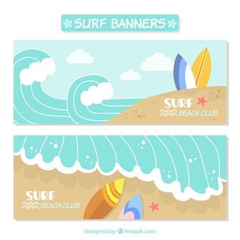 Śliczne banery surf z fal