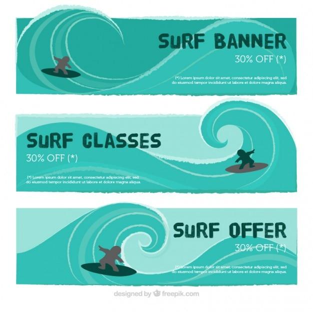 Śliczne banery surfowania z dużymi falami