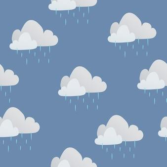 Śliczne bezszwowe dzieci wzór tła, deszczowa chmura ilustracji wektorowych