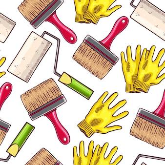 Śliczne bezszwowe tło narzędzi pracy malarza. ręcznie rysowane ilustracji