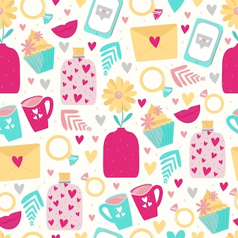 Śliczne bezszwowe wzory z serca, kwiaty, telefon, pierścionki, listy miłosne na walentynki lub wesele. tło dla projektowania tekstyliów, papieru do pakowania, zaproszeń i kart. ładny styl kreskówki