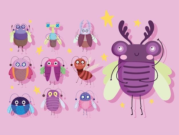 Śliczne błędy owady zwierzęcej natury w ilustracja ikony stylu cartoon
