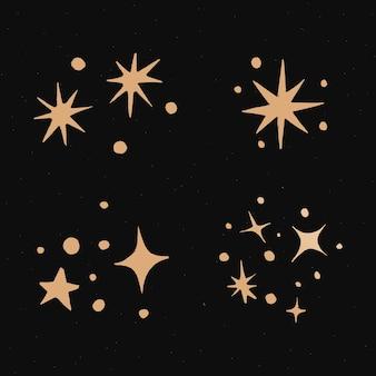 Śliczne błyszczy złota galaktyka doodle naklejka ilustracyjna