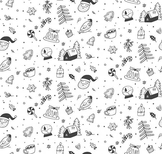 Śliczne boże narodzenie doodle wzór