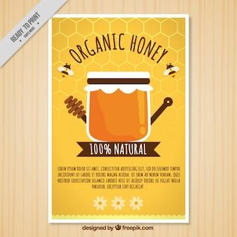 Śliczne broszura organicznego miodu