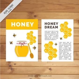 Śliczne broszura z słoik miodu