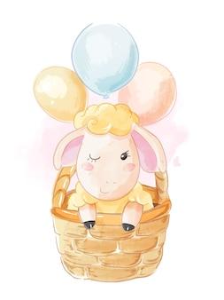 Śliczne catoon owce w busket ilustraci