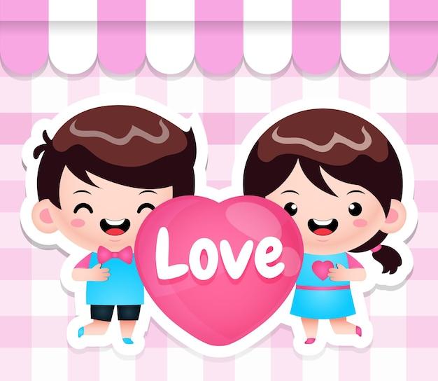 Śliczne chibi kids holding heart