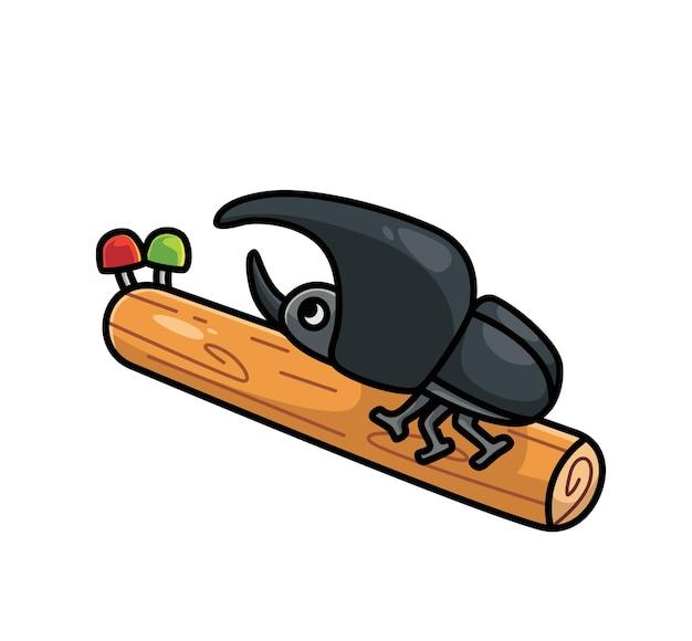 Śliczne chrząszcze nosorożec na gałęzi pnia drzewa. koncepcja kreskówka natura zwierząt ilustracja na białym tle. płaski styl nadaje się do naklejki icon design premium logo vector. postać maskotki