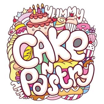 Śliczne ciasta i ciasta doodle tło