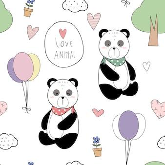 Śliczne cienkie linii zwierzęta kreskówka doodle wzór
