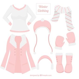 Śliczne damskie zimowe ubrania z akcesoriami