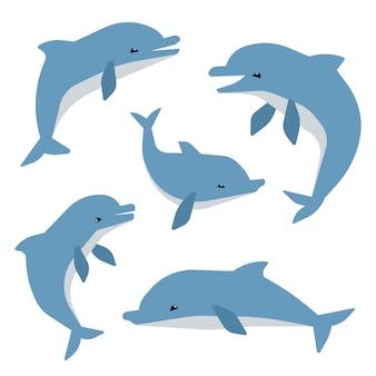 Śliczne delfiny w różnych pozach wektor ilustation. delfiny na białym tle
