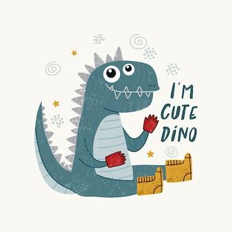 Śliczne dinozaury ilustracja w stylu skandynawskim