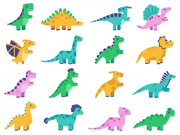 Śliczne dinozaury. ręcznie rysowane komiks dinozaury, zabawne postacie dino, zestaw ilustracji tyranozaura, stegozaura i diplodoka. dinozaur, triceratops dino