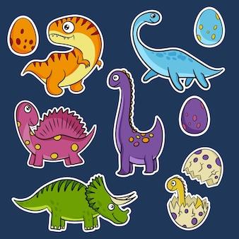 Śliczne dinozaury ręcznie rysowane wektor naklejki w stylu cartoon. dino płaskie kliparty. ilustracja wektorowa.
