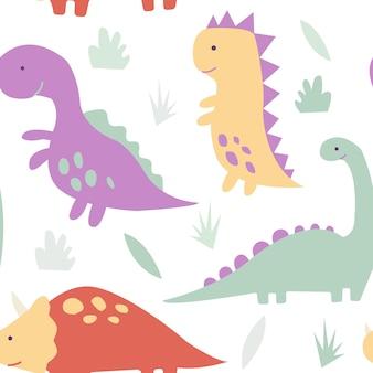 Śliczne dinozaury tropikalne roślinyzabawny wzór dinozaurów z kreskówek