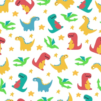 Śliczne dinozaury wektor wzór na tapetę