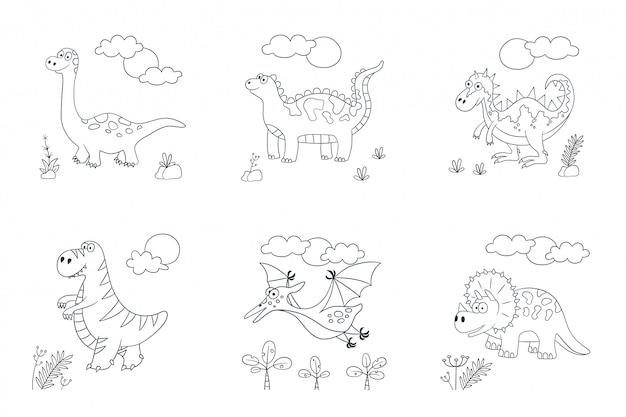 Śliczne dinozaury. zestaw dinozaurów. ilustracja w stylu doodle i kreskówki