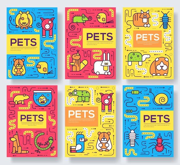 Śliczne domowe zwierzęta cienka linia broszura zestaw kart. szablon zwierzęcy ulotki, czasopism, plakatów